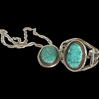 Signed 3 Hogans Turquoise Bracelet and Necklace