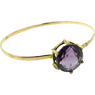 Antique Victorian Amethyst 9ct Gold Bangle Bracelet