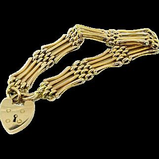 Antique Edwardian English 9ct Gold Chain Gate Bracelet