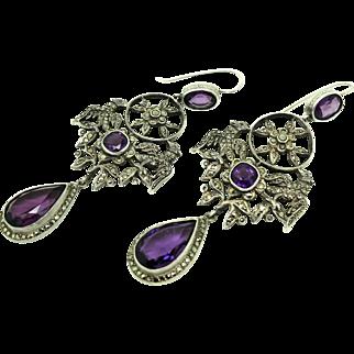 Antique French Edwardian Silver amethyst Marcasite Drop Gemstone Earrings