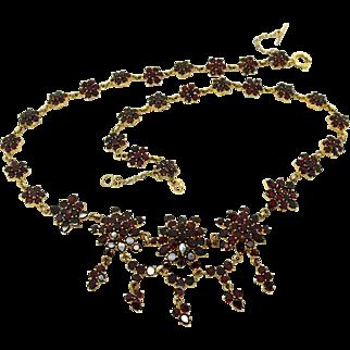 Antique Victorian Flat Cut Garnet Silver Gilt Necklace