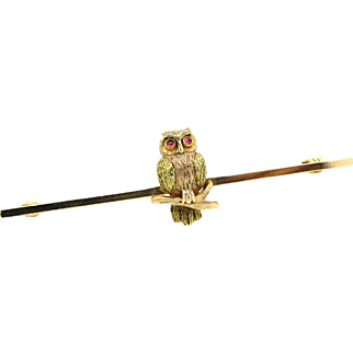 Antique Victorian 9ct Gold & Pink Tourmaline Owl Brooch Pin
