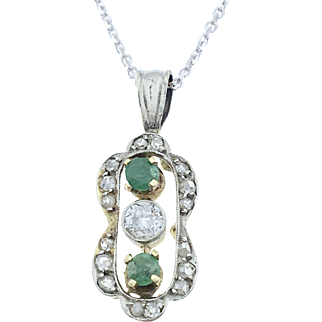 Diamond and Emerald Pendant Necklace