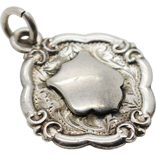 1937 Sterling Silver Hallmarked Shield Shaped Fob Medal Charm Floral Etched pattern