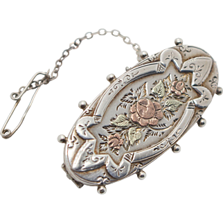 Aesthetic Period Sterling Silver 1887 Victorian Hallmarked Floral Ladies Sweetheart Brooch