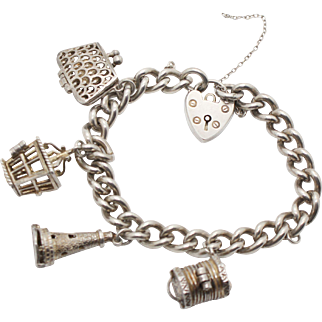 Hallmarked Sterling Silver 1970s Charm Bracelet with 4 Moving Charms and Heart Faux Padlock Opening