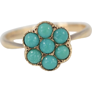 1970s Vintage 9ct Yellow Gold and Turquoise Daisy Cluster Ring