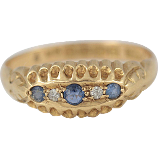 Antique 1916 18ct Gold Sapphire and Diamond Boat Shape Ring
