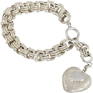Victorian Chunky Silver Bracelet with Large Engraved Heart Charm