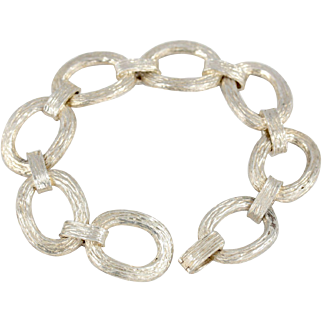 Vintage 70s Textured Sterling Silver Large Link Bracelet by CLIFFORD & TULL