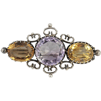 Antique Edwardian Silver Amethyst and Citrine Three Stone Brooch