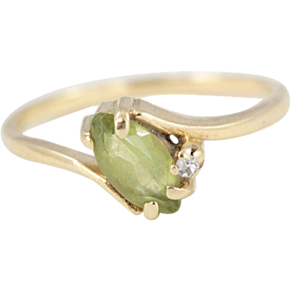 Dainty Vintage 14k Yellow Gold Marquise Peridot and Diamond Ring