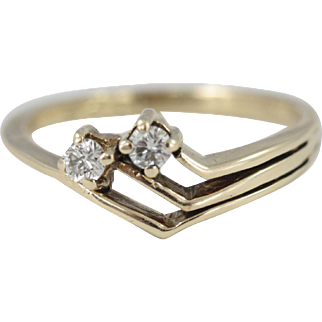 Vintage 9ct Yellow Gold Double Diamond Ring 0.25 carats Art Deco Style