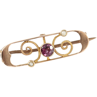 Art Nouveau 9ct Gold Rhodolite Garnet and Seed Pearl Brooch