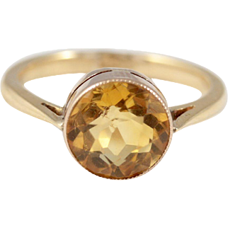 18ct Gold Citrine Ring Antique to Early Vintage
