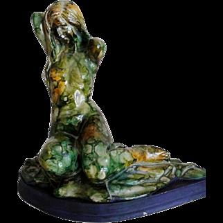 Magnificent Unique piece, glaze Sculpture, Nude woman