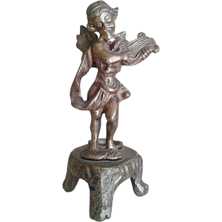 Wonderful Antique bronze Inkwell, cherub playing Celtic Harp