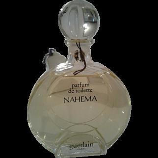 Hard to find NAHEMA perfume, factice bottle, of GUERLAIN; circa 1978