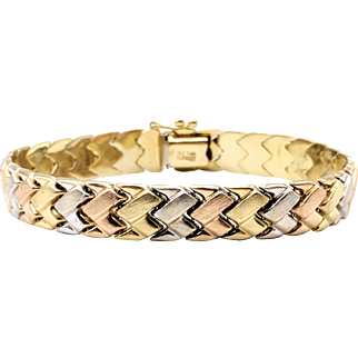 Tri-Color 14K Gold Fancy Snake Link Bracelet