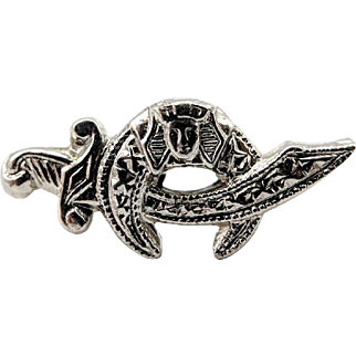 14K White Gold Masonic Shriner Sword Lapel Tie Tack Pin