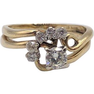 0.32 Carat Diamond Swirl & 14K Yellow Gold Ring