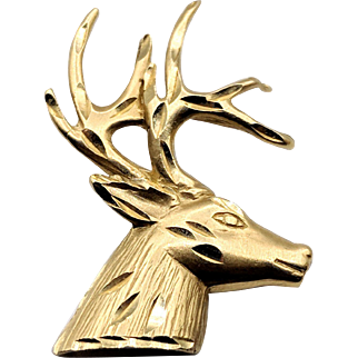 14K Yellow Gold Stag Pendant