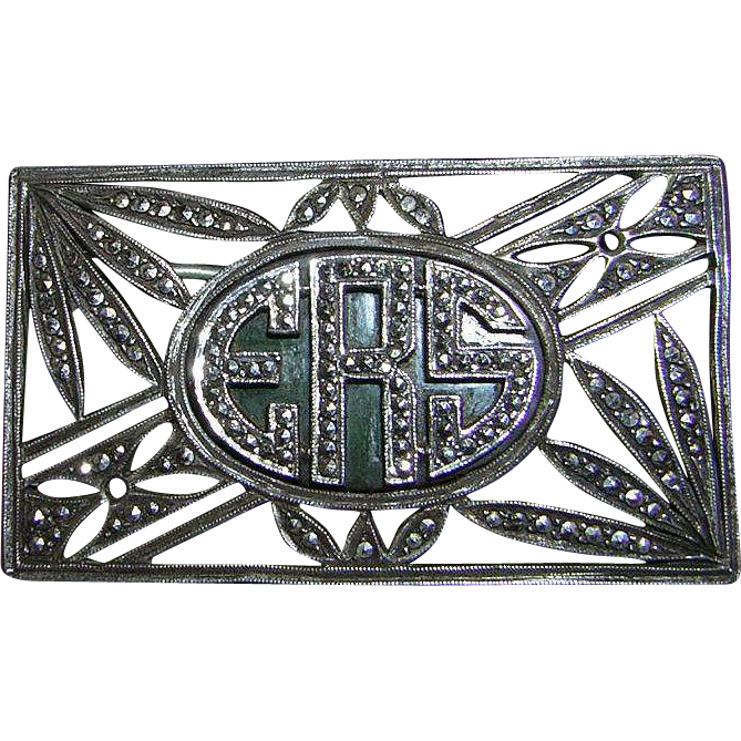 Art Deco Marcasite Sterling Brooch