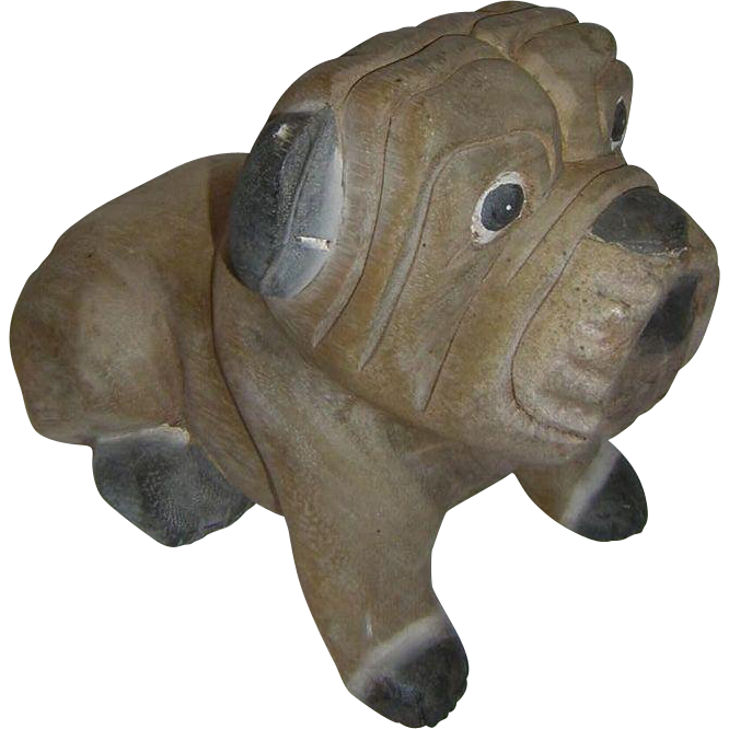 Vintage Folk Carved Bulldog