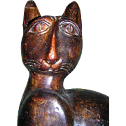 Folk Art  Cat Carved Wood