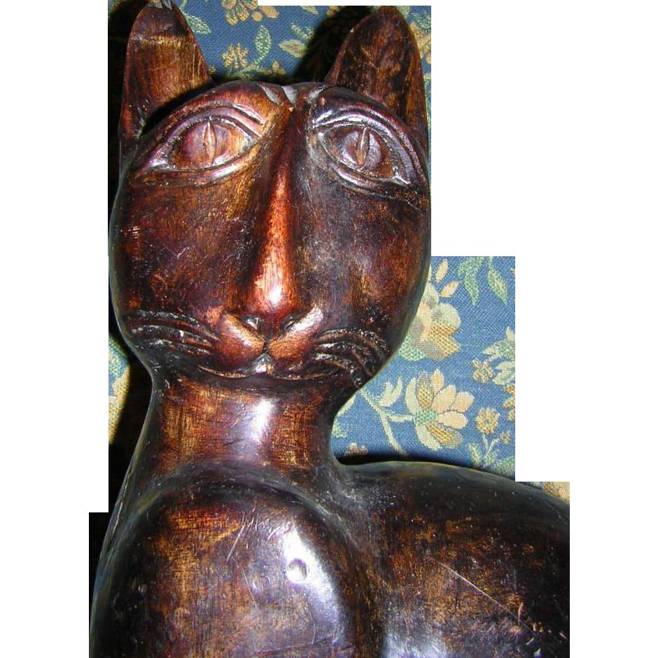 Folk Art  Cat Carved Wood