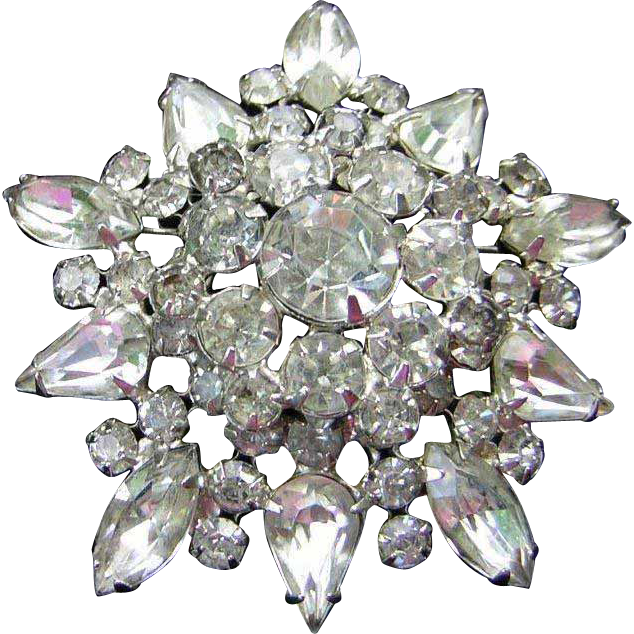 Large Vintage Rhinestone Brooch / Pin