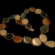Vintage Polished Agate and Pink Quartz Necklace