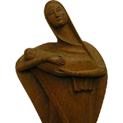 Vintage Carved Madonna and Christ Child