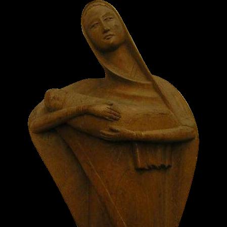 Vintage Carved Madonna and Christ Child