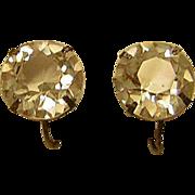 Vintage Crystal Headlight Rhinestone Earrings