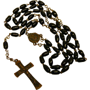 Vintage Jet Black Glass Rosary