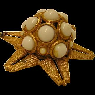 Vintage Domed Starfish Brooch