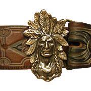 Vintage Tooled Leather Belt with Native American Image 925 Silver Buckle