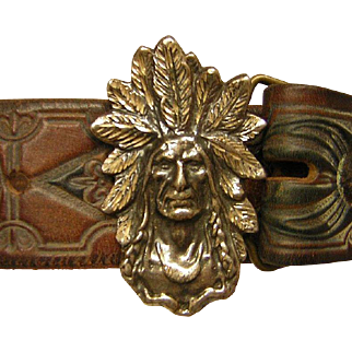 Vintage Tooled Leather Belt with Native American Image Silver Buckle