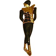Vintage Pin Harlequin Style Lady