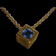 Vintage Crown Trifari Birthstone Cube Necklace in Sapphire Blue