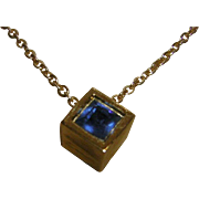 Vintage Crown Trifari Birthstone Cube Necklace in Sapphire Blue for September