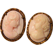 Vintage Shell Cameo Earrings
