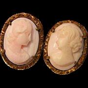 Vintage Shell Cameo Earrings