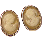 Vintage Crown Trifari Cameo Earrings