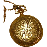 Vintage Faux Pocket Watch Pendant Locket