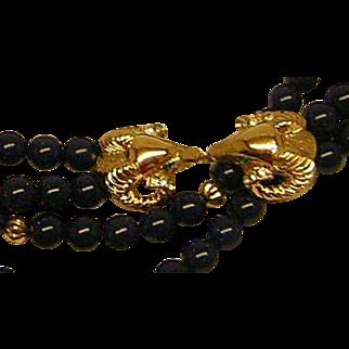 Vintage Kenneth J. Lane for Avon Ram's Head Necklace in Lapis Blue