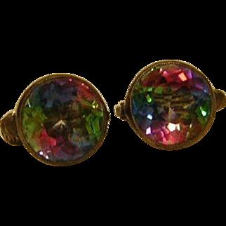 Vintage Rainbow Crystal Clip Earrings 835 Silver
