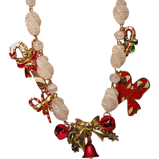 'Christmas Candy' Collage Necklace by Josty