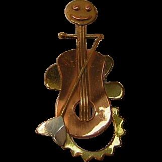 Vintage Mixed Metals Cello Player Pin